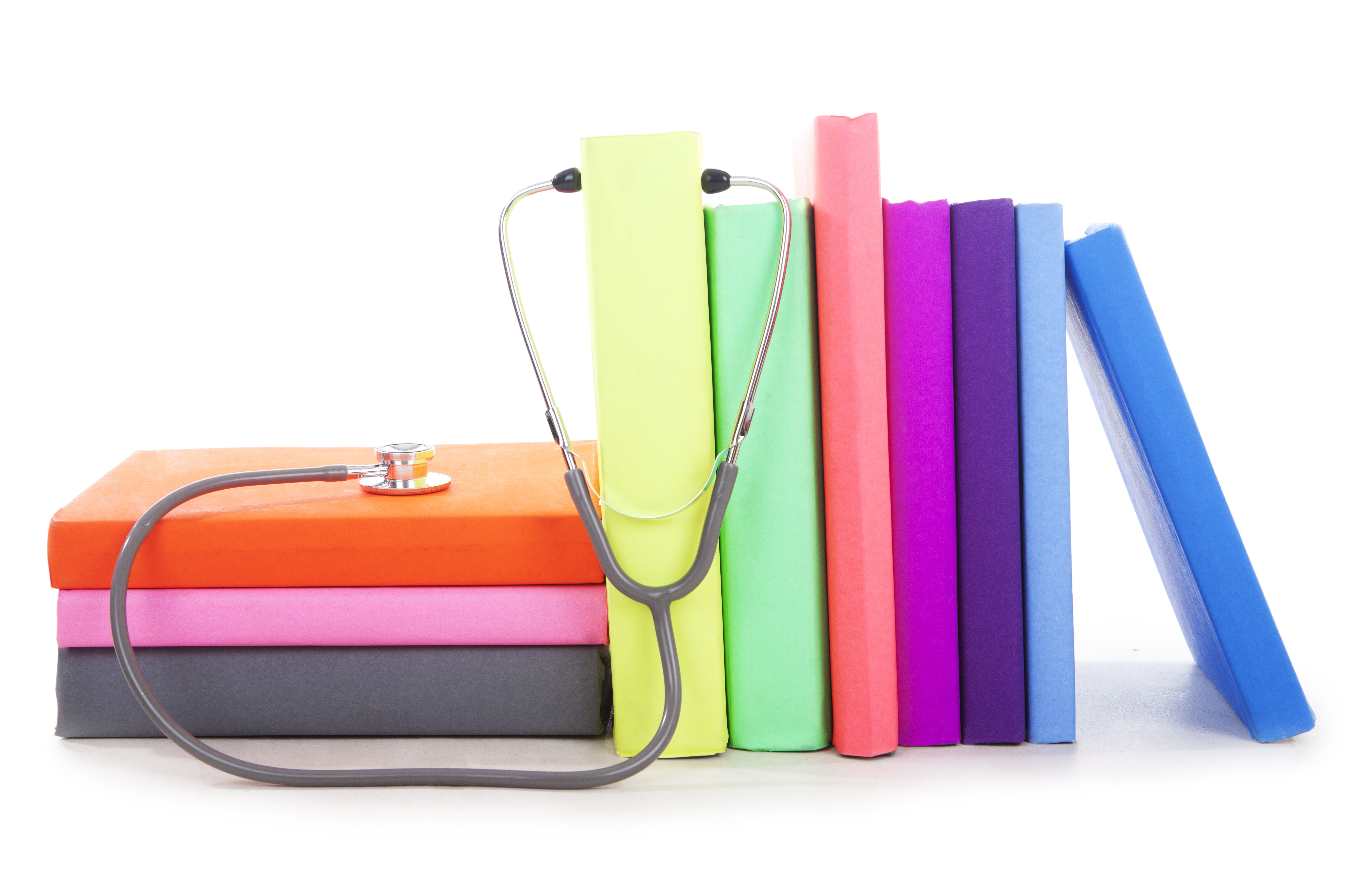 Medical books with stethoscope